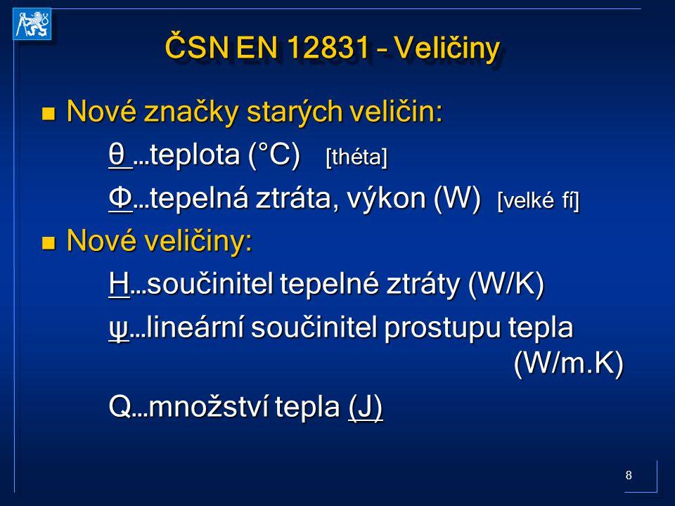 ČSN EN 12831 – Veličiny Nové značky starých veličin: θ …teplota (°C) [théta] Φ…tepelná ztráta, výkon (W) [velké fí]